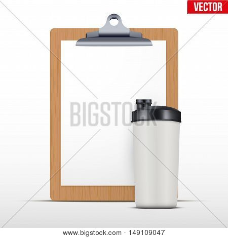Coaching blank clipboard and workout bottle. Editable Vector illustration Isolated on white background.