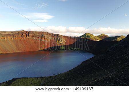 Lljotipollur or dreadful hole crater lake in Landmannalaugar valley Iceland