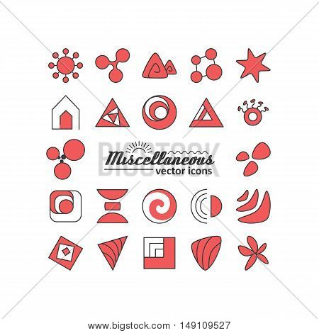 Set with icons - abstract symbols. A vector.
