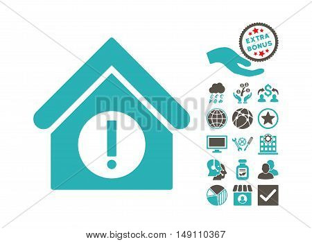 Danger Building pictograph with bonus images. Vector illustration style is flat iconic bicolor symbols grey and cyan colors white background.