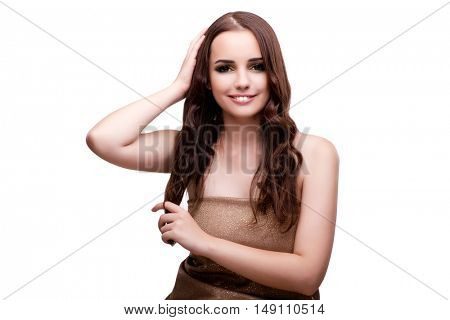 Woman checking her haircut isolated on white