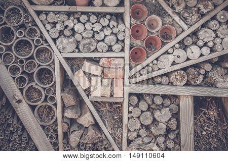 Wood And Pots On A Shelf