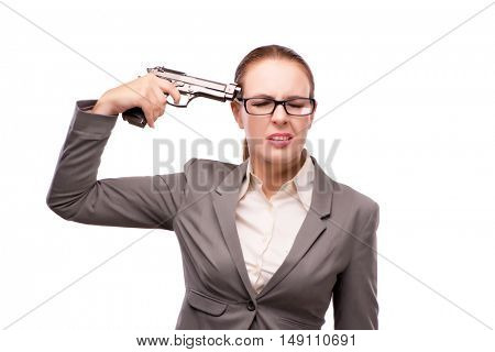 Businesswoman with handgun isolated on white