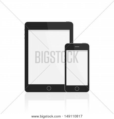 Realistic vector smart phone and tablet with blank screen. Modern digital tablet PC with mobile phone isolated on white background.