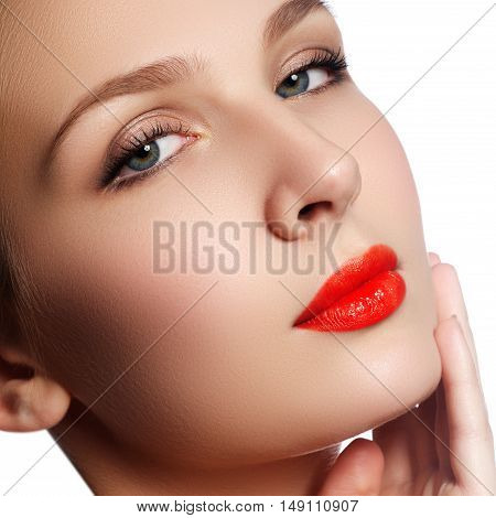 Close-up Portrait Of Beautiful Woman's Purity Face With Bright R