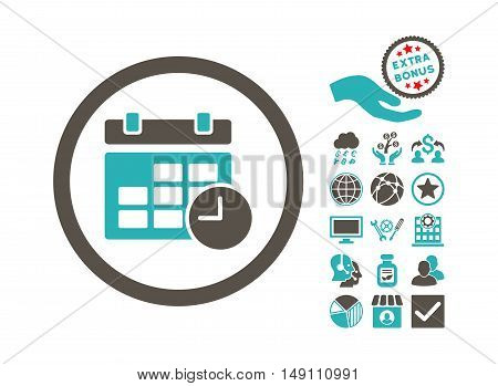 Date and Time icon with bonus images. Vector illustration style is flat iconic bicolor symbols grey and cyan colors white background.