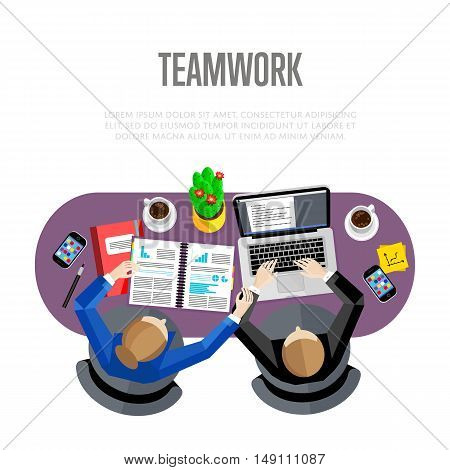 Teamwork concept. Top view workspace background, vector illustration. Overhead view of businesswoman and businessman working at office desk. Business workplace. Collaboration and partnership