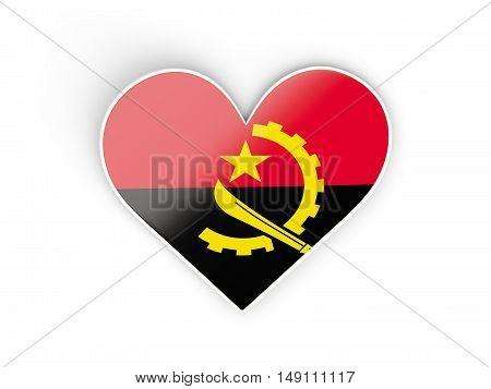 Flag Of Angola, Heart Shaped Sticker