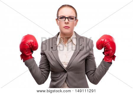 Businewoman with boxing gloves isolated on white