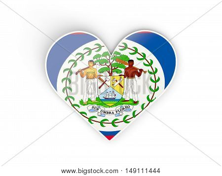 Flag Of Belize, Heart Shaped Sticker
