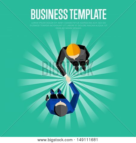 Business template, vector illustration. Top view of two businessmen shaking hands on striped green background. Business people meeting concept. Contract conclusion. Union symbol