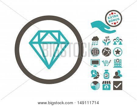 Diamond pictograph with bonus pictures. Vector illustration style is flat iconic bicolor symbols grey and cyan colors white background.
