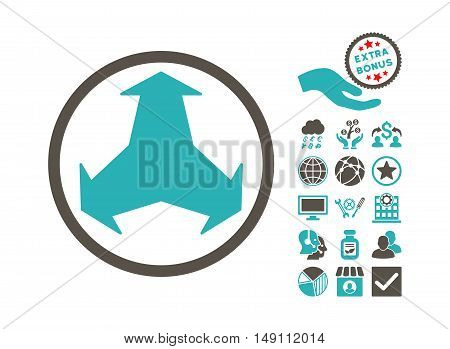 Directions pictograph with bonus icon set. Vector illustration style is flat iconic bicolor symbols grey and cyan colors white background.