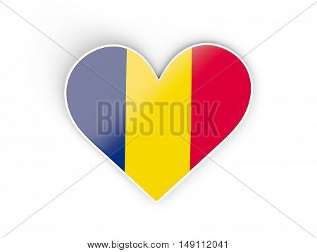Flag Of Chad, Heart Shaped Sticker