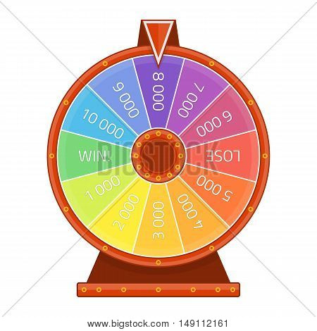 Modern lucky wheel template. Illustration of Fortune, winner game, money casino. Gambling, Chance and risk concept.