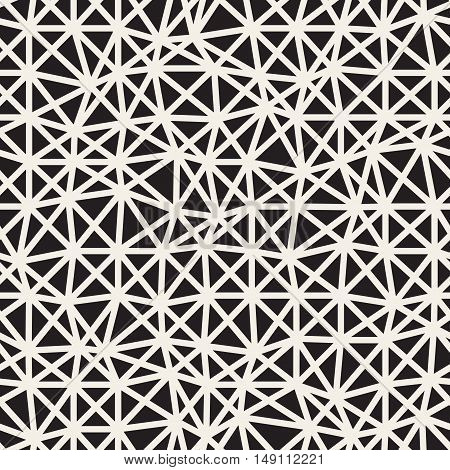 Vector Seamless Black and White Irregular Triangles Grid Pattern. Abstract Geometric Background Design