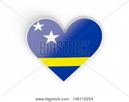 Flag Of Curacao, Heart Shaped Sticker