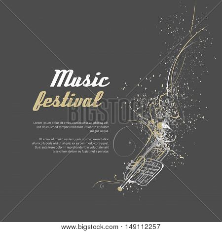 Simplified vector illustration - Music. Notes lines trumpet.