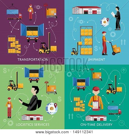 Warehouse process infographics four banners. Supply chain illustration. Logistic concept vector illustration. Forklift on the work.
