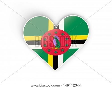 Flag Of Dominica, Heart Shaped Sticker