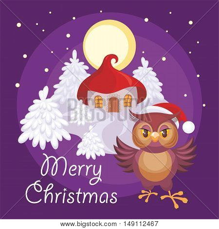 Merry Christmas greeting card with the image of a fairytale winter forest, small house and owl in Santa Claus's cap
