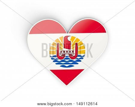 Flag Of French Polynesia, Heart Shaped Sticker