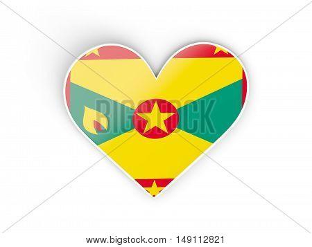 Flag Of Grenada, Heart Shaped Sticker