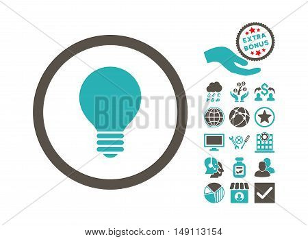 Electric Bulb pictograph with bonus images. Vector illustration style is flat iconic bicolor symbols grey and cyan colors white background.