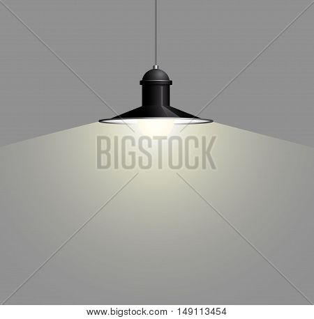 Ancient black lamp hanging on the wire. Big and empty space illuminated on the grey wall. Vector illustration of lighting.
