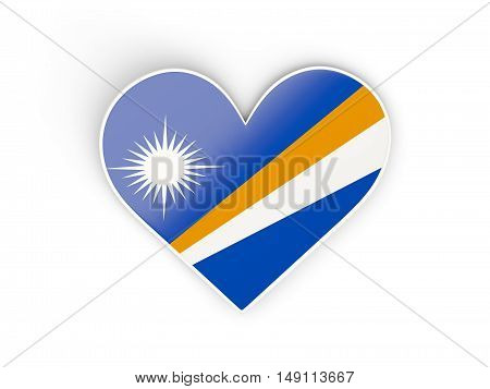 Flag Of Marshall Islands, Heart Shaped Sticker