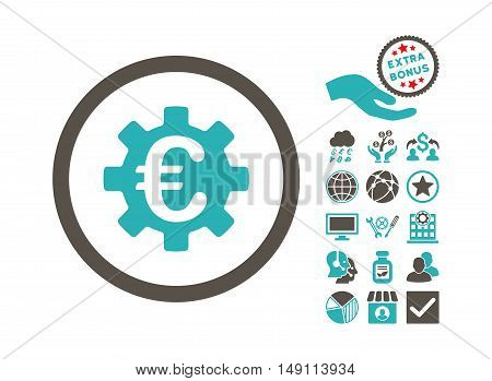 Euro Machinery pictograph with bonus images. Vector illustration style is flat iconic bicolor symbols grey and cyan colors white background.