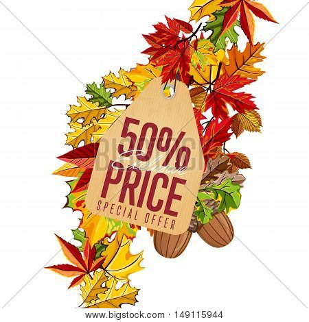 Autumn seasonal sale badge, vector illustration. Exclusive price, special offer label in vintage style on white background with colorful autumn leaves. Incredible sale proposition