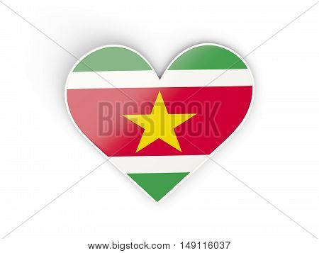 Flag Of Suriname, Heart Shaped Sticker