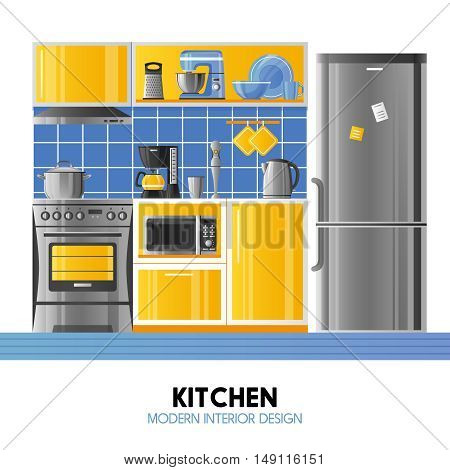 Kitchen modern interior design concept in realistic style with household equipment appliances and utensil flat vector illustration