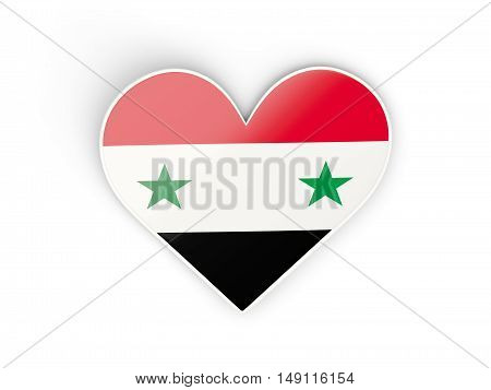 Flag Of Syria, Heart Shaped Sticker