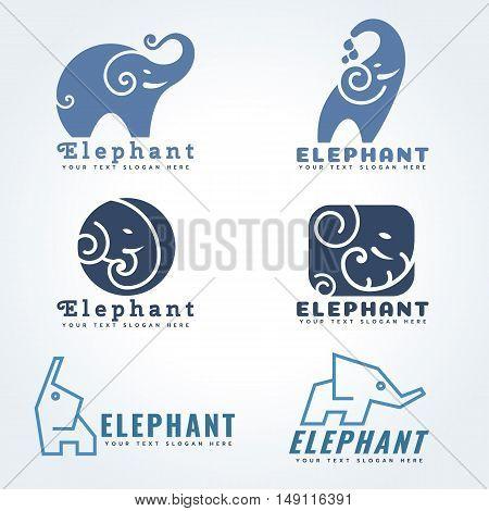 Elephant logo sign vector illustration set design
