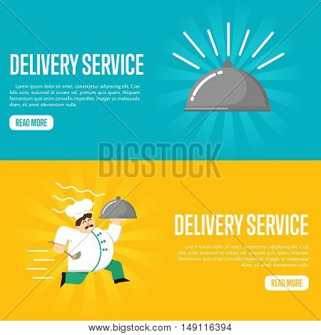 Chef in uniform with restaurant cloche on yellow background. Restaurant cloche on blue background. Delivery service website templates, vector illustration. Fast food delivery design.