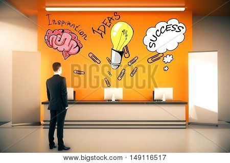 Young businessman in suit looking at reception with creative sketches. Success concept. 3D Rendering