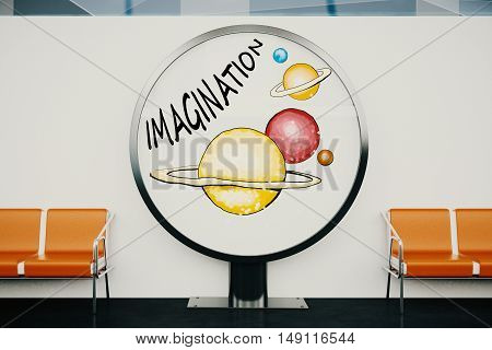 Round ad stand with creative planet sketch in interiro with concrete wall and orange seats. Imagination concept. 3D Rendering