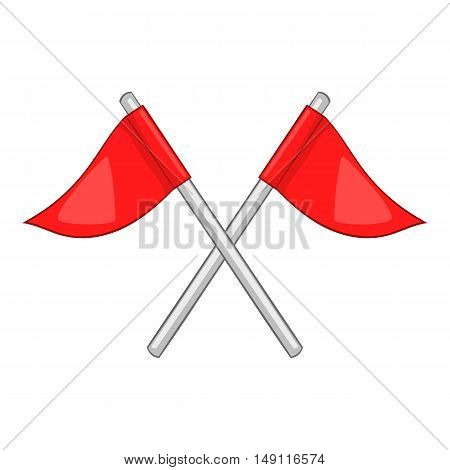 Flags of golf course icon in cartoon style isolated on white background. Sport symbol vector illustration