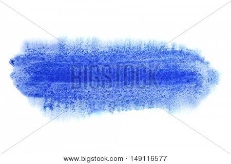 Blue brush stroke isolated on the white background