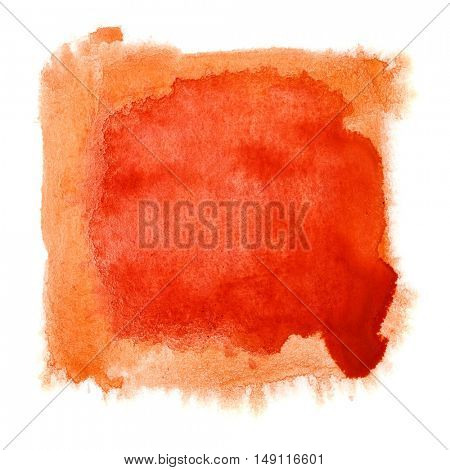 Red watercolor frame isolated over the white background - space for your own text