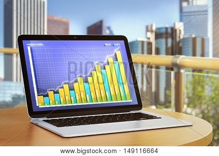 Closeup of laptop computer with colorful business chart placed on balcony table with blurry city view. Financial growth concept. 3D Rendering