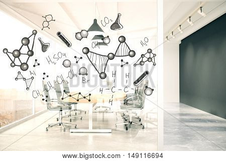 Modern conference room interior with chemical formulas on glass wall. 3D Rendering