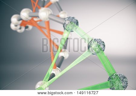 Dna Molecules On Grey Background