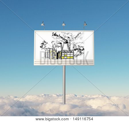 Huge billboard with creative infrastructure sketch in bright sky above clouds. 3D Rendering