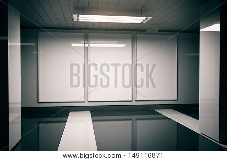Shiny dark interior with empty white advertisement posters and ceiling lamp. Mock up 3D Rendering