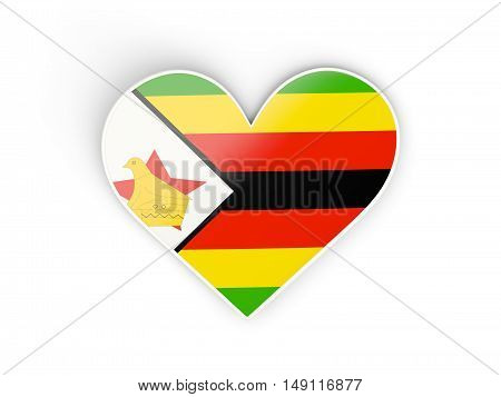Flag Of Zimbabwe, Heart Shaped Sticker