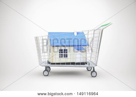 Trolley with blue house on light background. Concept of buying property. 3D Rendering