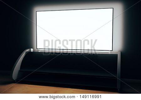 Tv Screen In Dark Room Side